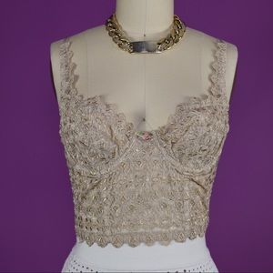 Embroidered Lace Longline Bra